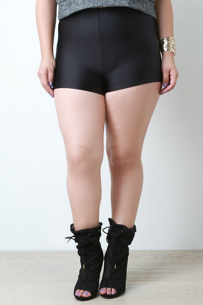 Shimmer High Waisted Spandex Shorts - Rich Girl's Closet - 5