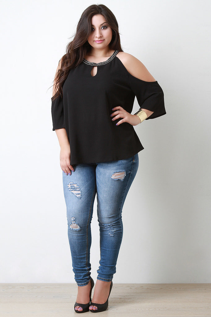 Beaded Neckline Cold Shoulder Blouse - Rich Girl's Closet - 20