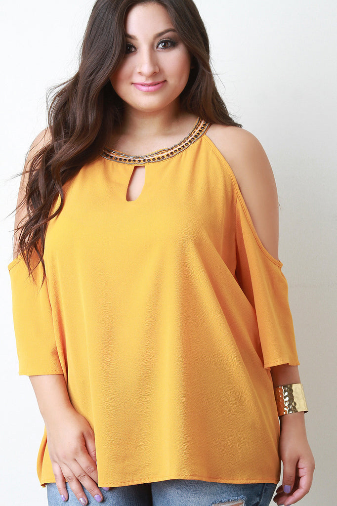 Beaded Neckline Cold Shoulder Blouse - Rich Girl's Closet - 4