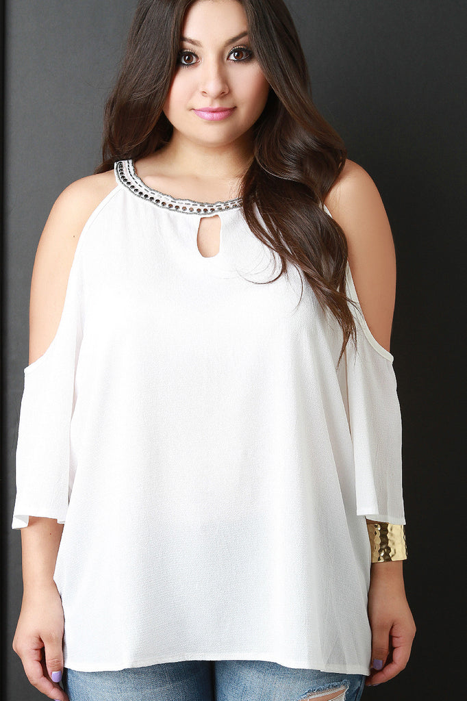 Beaded Neckline Cold Shoulder Blouse - Rich Girl's Closet - 24