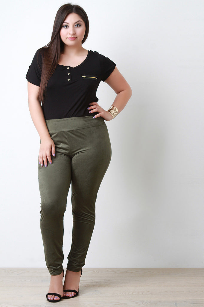 Faux Suede High Waist Tapered Leggings - Rich Girl's Closet - 4