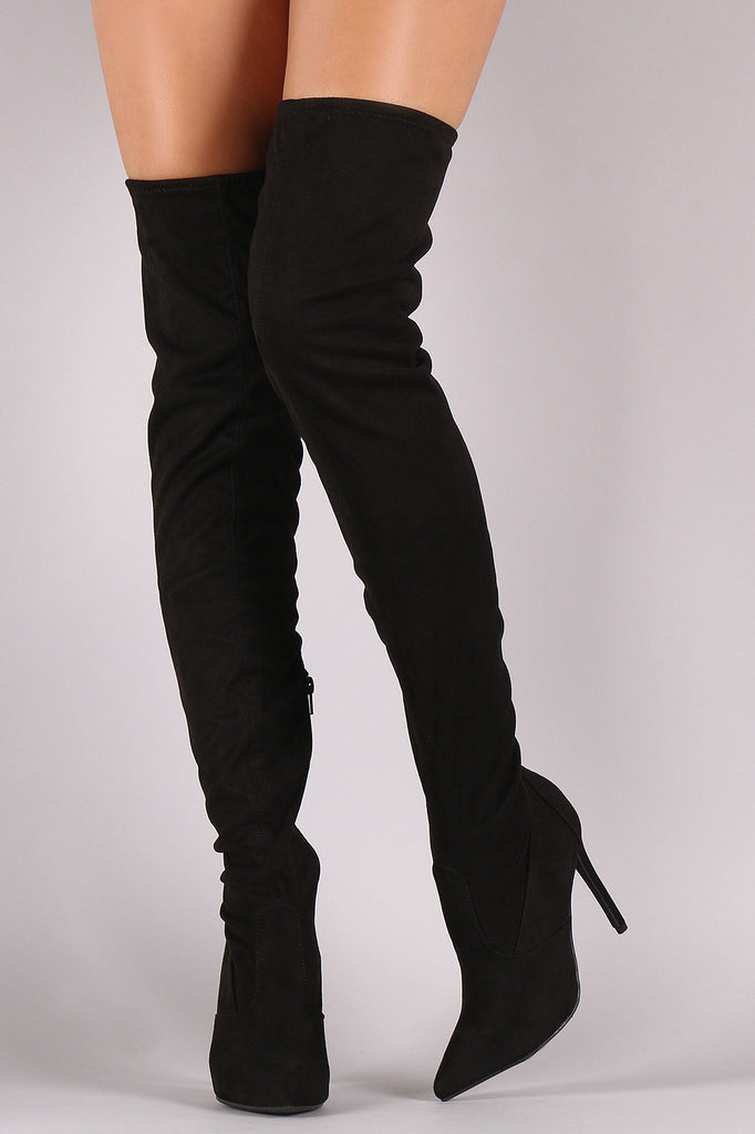 Anne Michelle Stretch Suede Thigh High Stiletto Boots - Rich Girl's Closet - 7