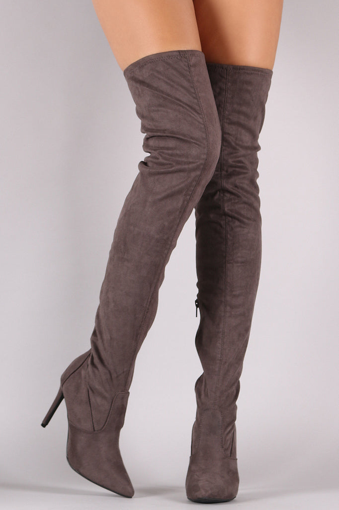 Anne Michelle Stretch Suede Thigh High Stiletto Boots - Rich Girl's Closet - 1