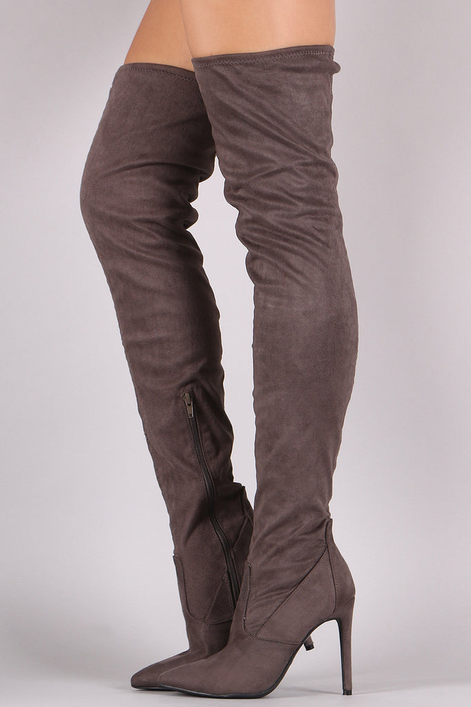 Anne Michelle Stretch Suede Thigh High Stiletto Boots - Rich Girl's Closet - 4