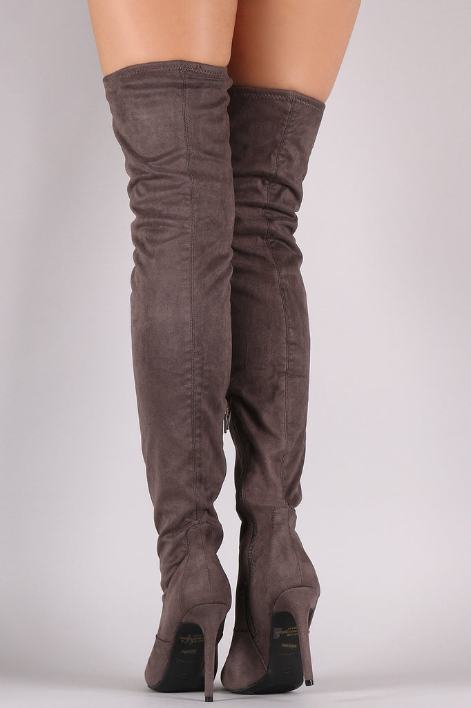 Anne Michelle Stretch Suede Thigh High Stiletto Boots - Rich Girl's Closet - 6