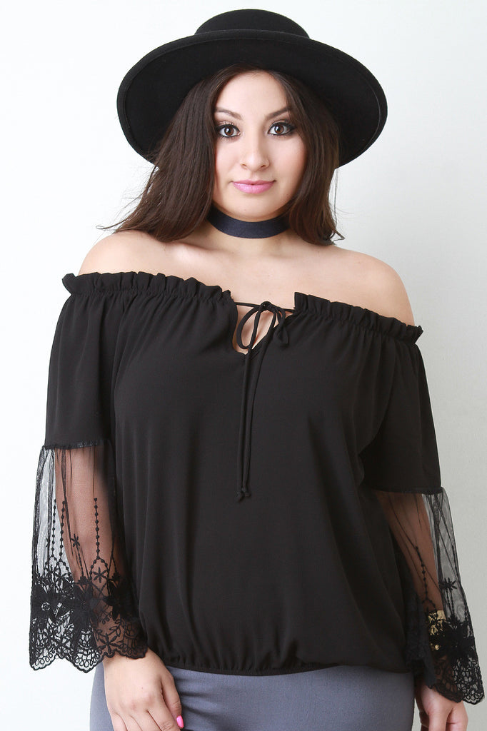 Off The Shoulder Embroidered Mesh Sleeve Peasant Top - Rich Girl's Closet - 11