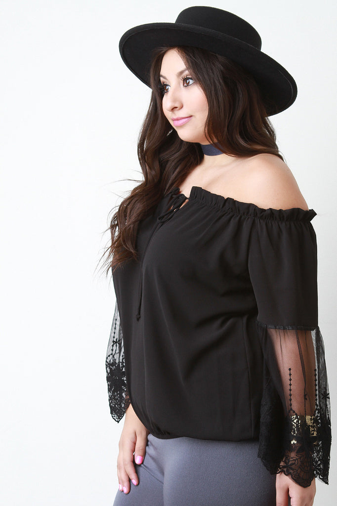 Off The Shoulder Embroidered Mesh Sleeve Peasant Top - Rich Girl's Closet - 2
