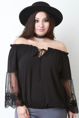 Off The Shoulder Embroidered Mesh Sleeve Peasant Top - Rich Girl's Closet - 7