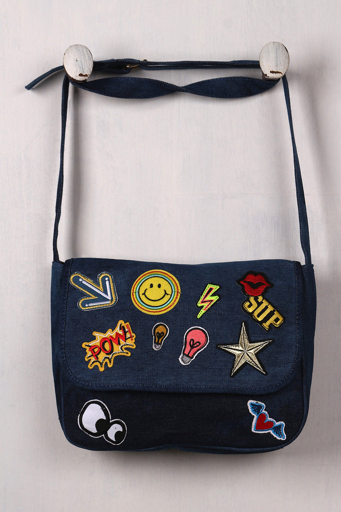 Graphic Patch Denim Messenger Bag - Rich Girl's Closet - 1