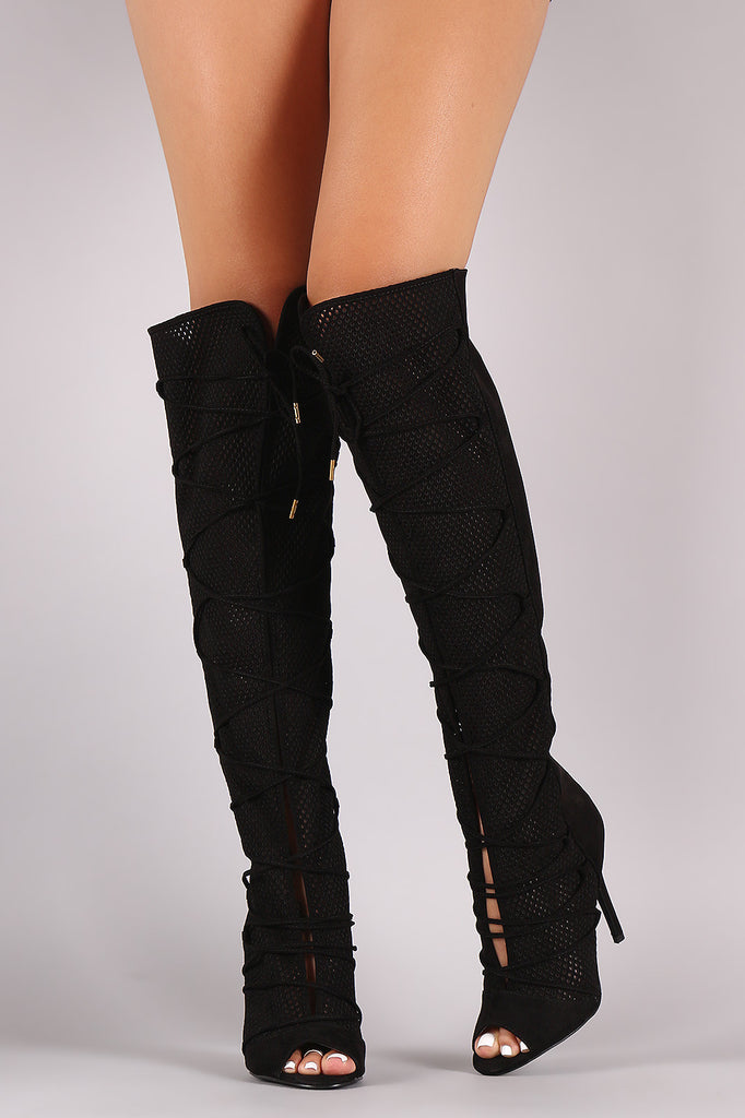 Qupid Lace Up Perforated OTK Stiletto Boots - Rich Girl's Closet - 10