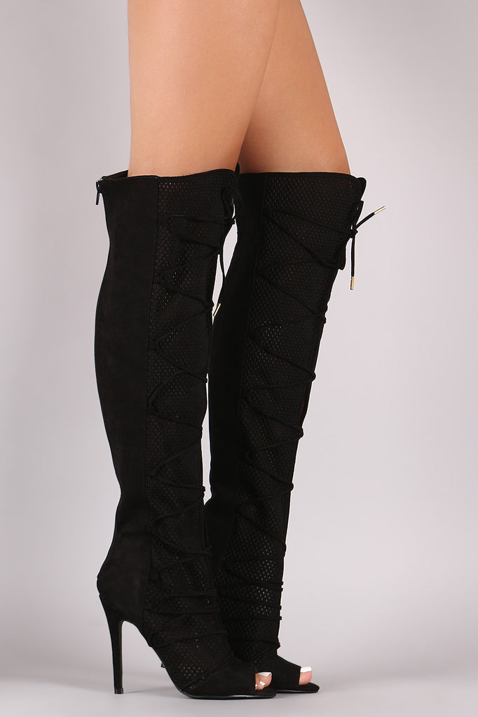 Qupid Lace Up Perforated OTK Stiletto Boots - Rich Girl's Closet - 9