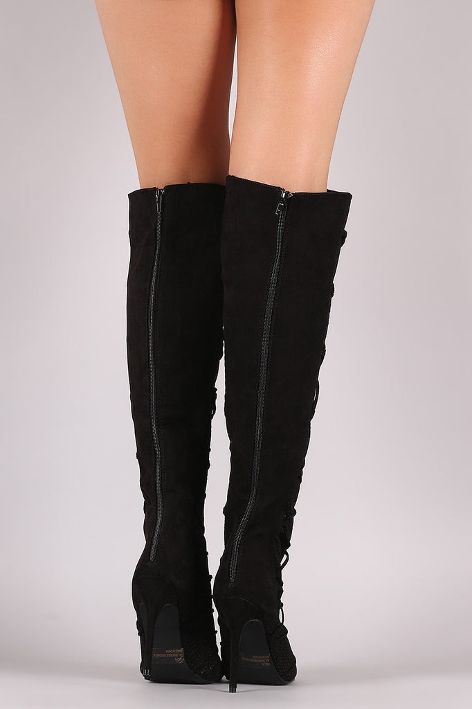 Qupid Lace Up Perforated OTK Stiletto Boots - Rich Girl's Closet - 6