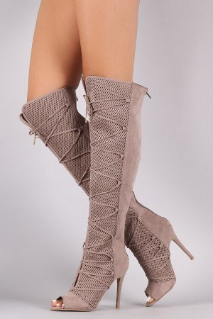 Qupid Lace Up Perforated OTK Stiletto Boots - Rich Girl's Closet - 8