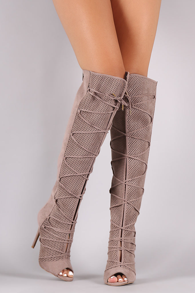Qupid Lace Up Perforated OTK Stiletto Boots - Rich Girl's Closet - 13