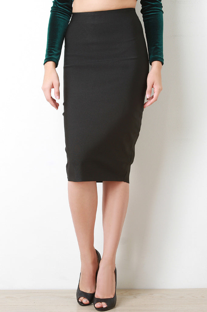 Thick Bandage Knit Pencil Skirt - Rich Girl's Closet - 2