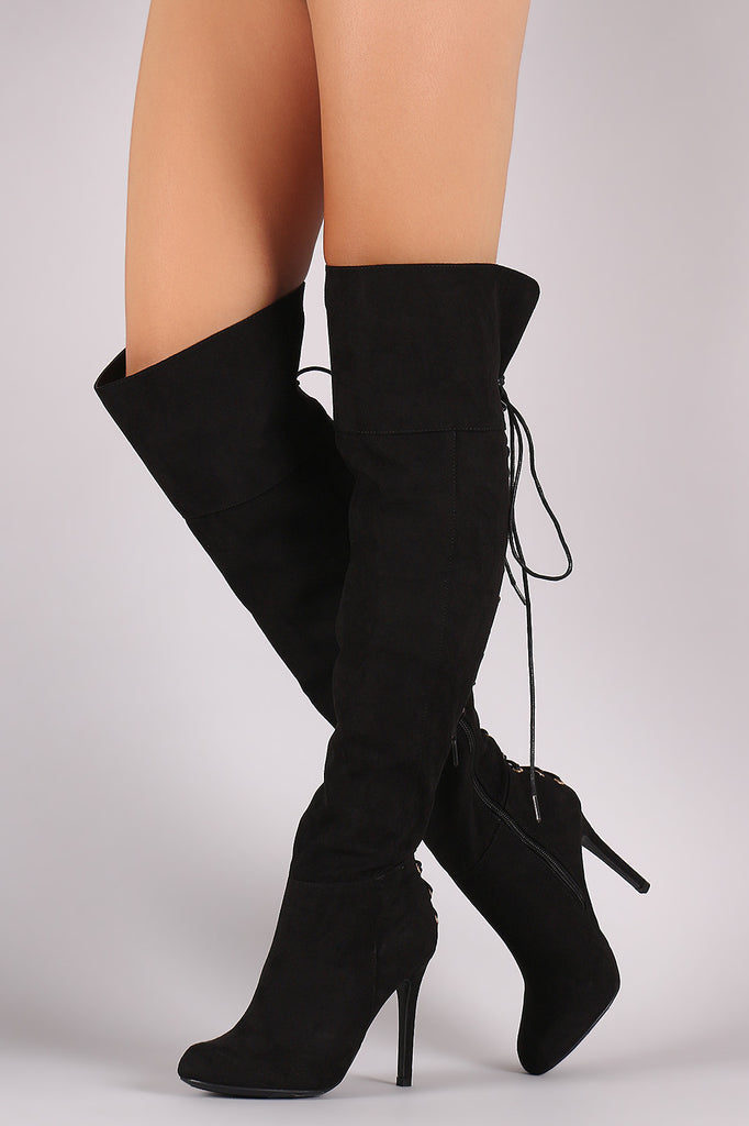 Anne Michelle Suede Back Corset Lace-Up Stiletto Boots - Rich Girl's Closet - 1