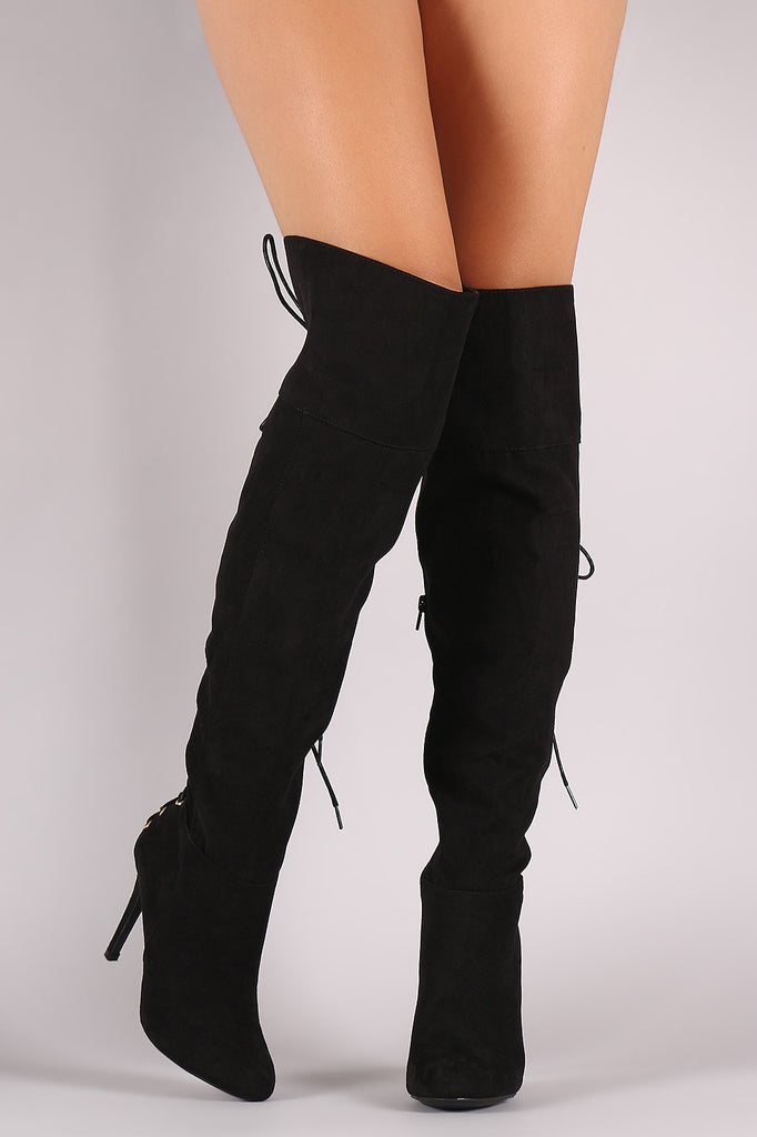 Anne Michelle Suede Back Corset Lace-Up Stiletto Boots - Rich Girl's Closet - 7