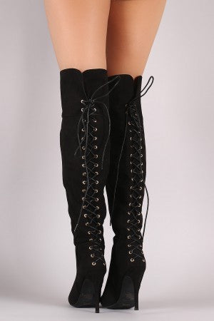 Anne Michelle Suede Back Corset Lace-Up Stiletto Boots - Rich Girl's Closet - 3