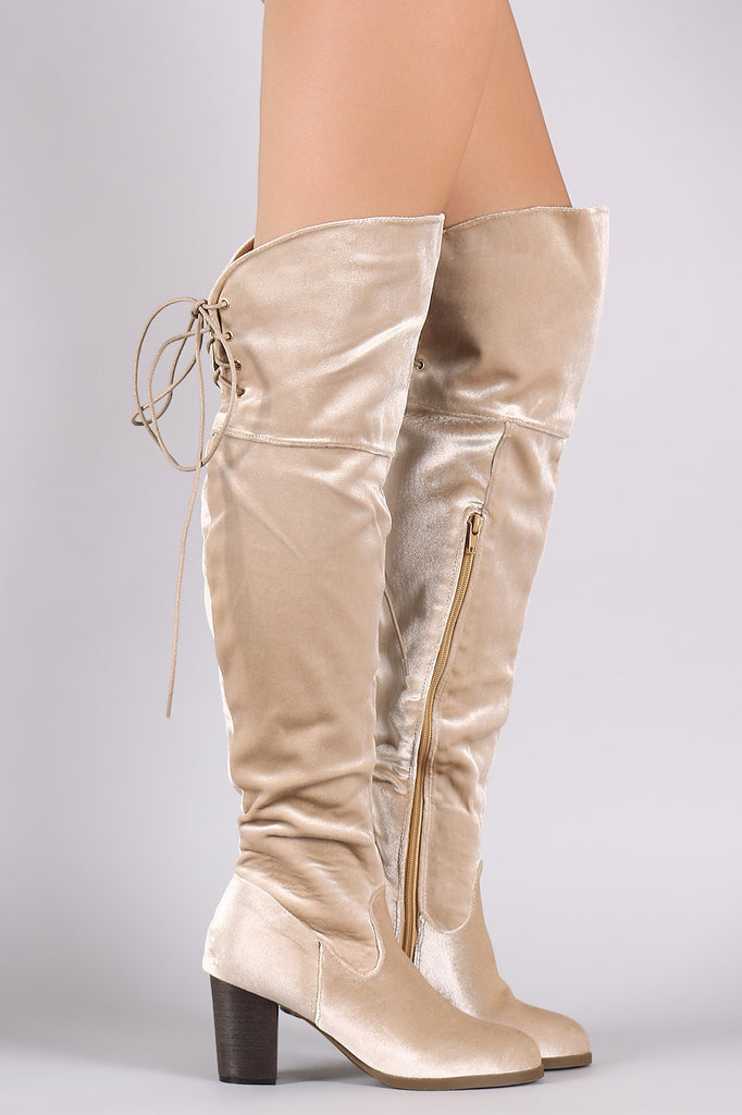 Crushed Velvet Back Lace-Up Chunky Heeled Over-The-Knee Boots - Rich Girl's Closet - 7