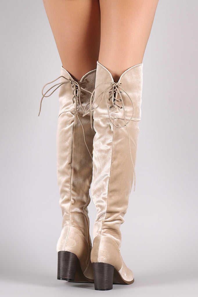 Crushed Velvet Back Lace-Up Chunky Heeled Over-The-Knee Boots - Rich Girl's Closet - 9