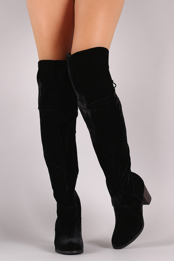 Crushed Velvet Back Lace-Up Chunky Heeled Over-The-Knee Boots - Rich Girl's Closet - 24
