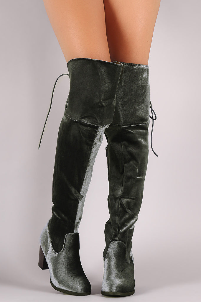 Crushed Velvet Back Lace-Up Chunky Heeled Over-The-Knee Boots - Rich Girl's Closet - 4