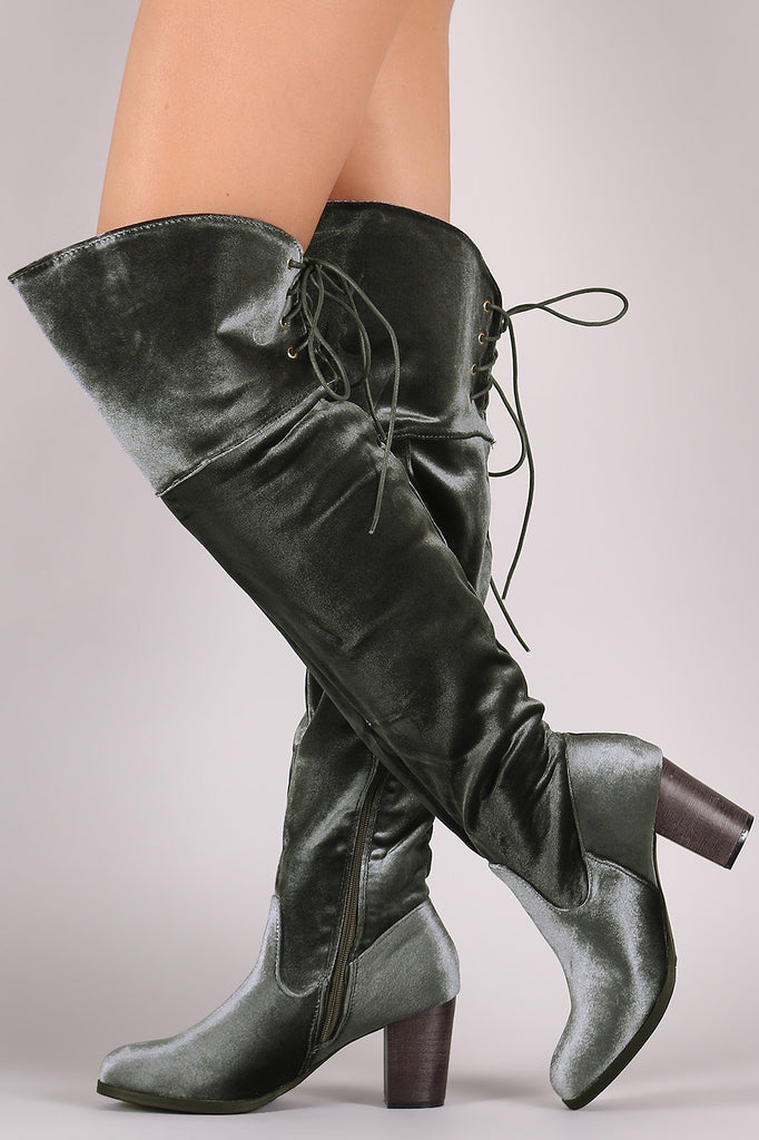 Crushed Velvet Back Lace-Up Chunky Heeled Over-The-Knee Boots - Rich Girl's Closet - 5