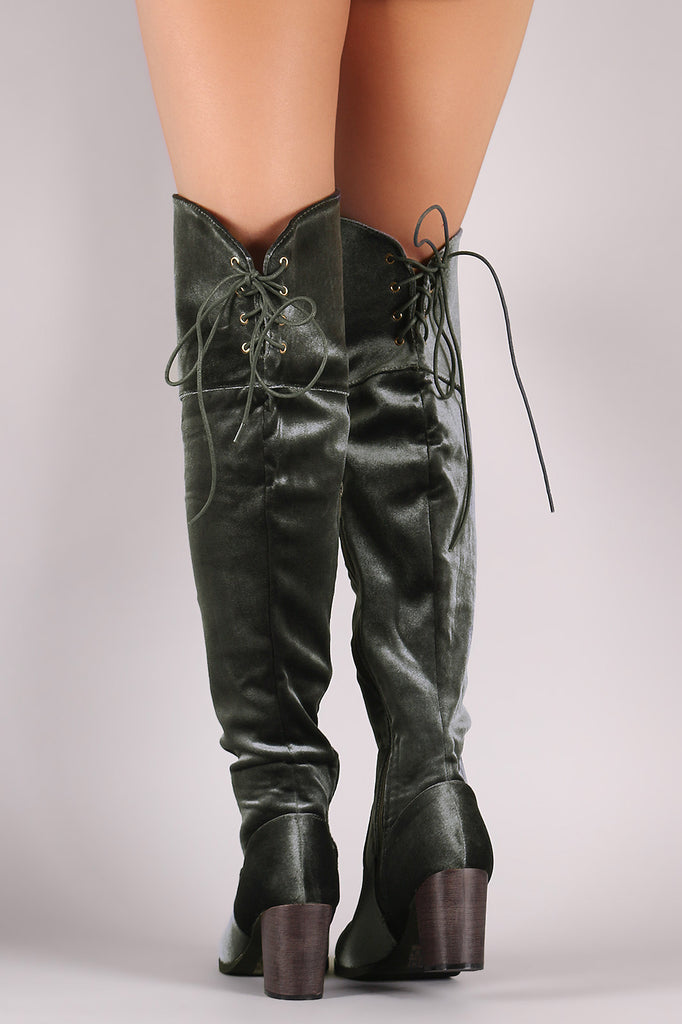 Crushed Velvet Back Lace-Up Chunky Heeled Over-The-Knee Boots - Rich Girl's Closet - 6