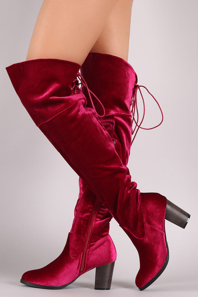 Crushed Velvet Back Lace-Up Chunky Heeled Over-The-Knee Boots - Rich Girl's Closet - 1
