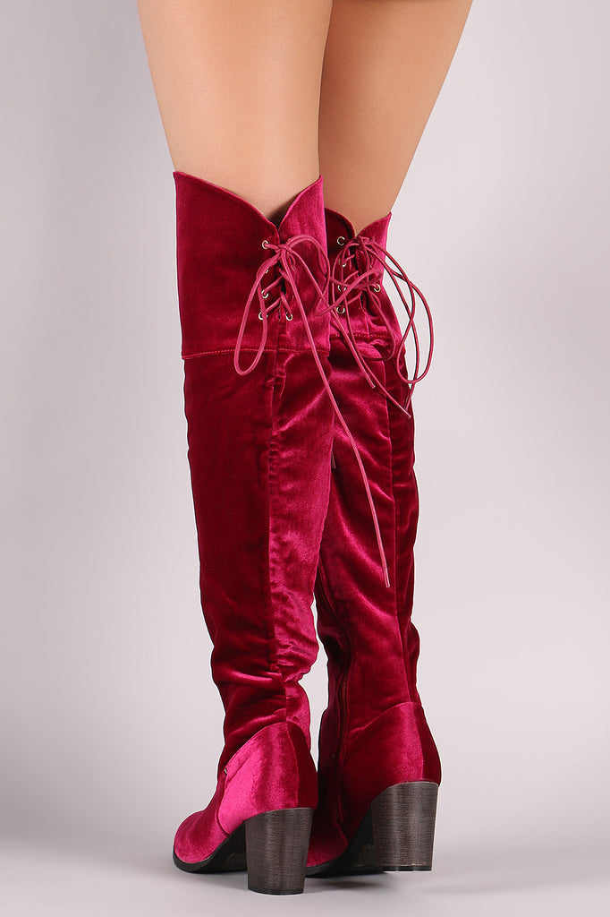 Crushed Velvet Back Lace-Up Chunky Heeled Over-The-Knee Boots - Rich Girl's Closet - 3