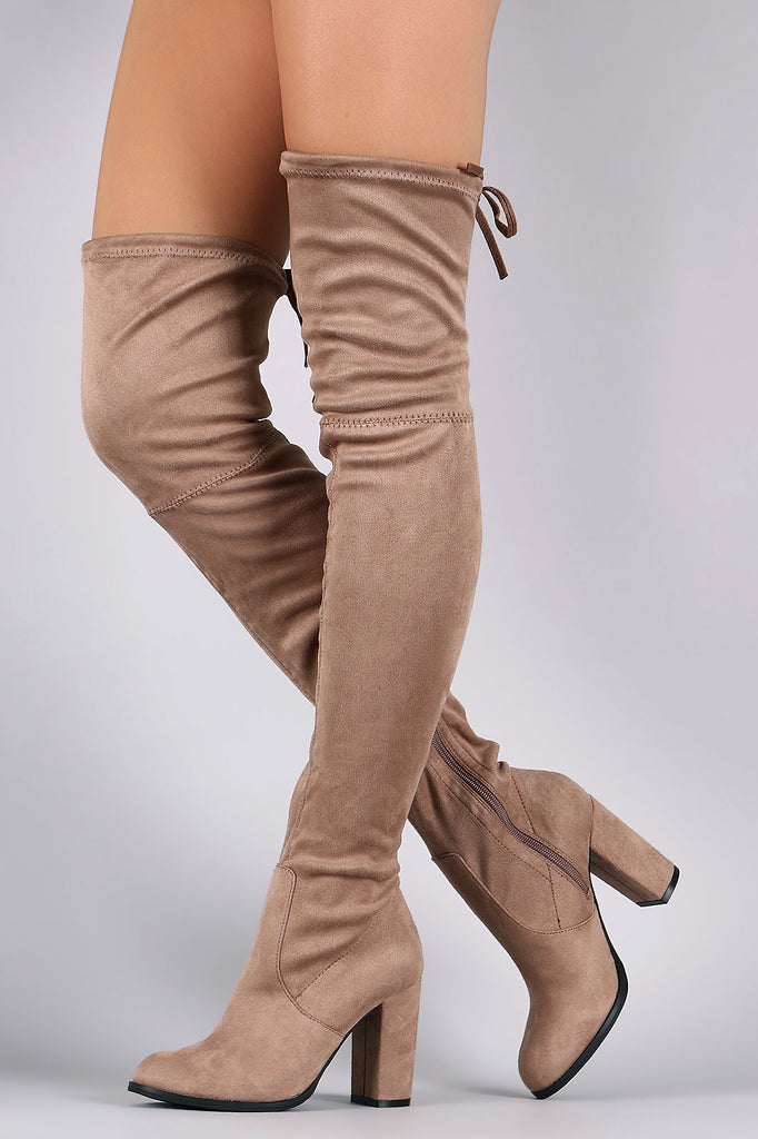 Over-The-Knee Suede Almond Toe Self-Tie Back Boots