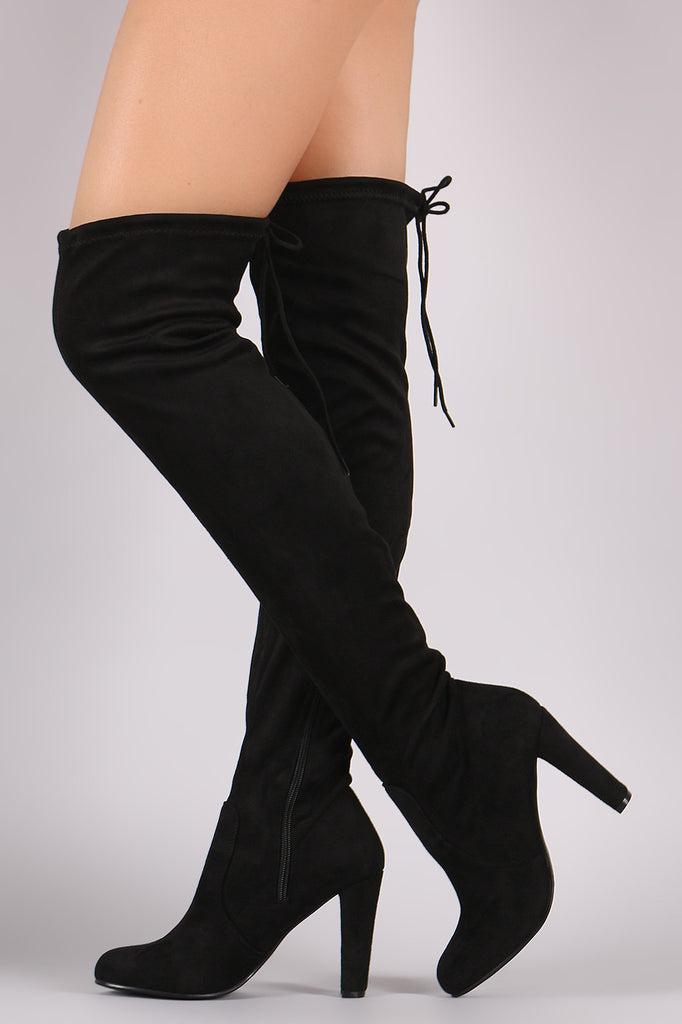 Suede Drawstring Tie Thick Heeled Over-The-Knee Boots - Rich Girl's Closet - 11