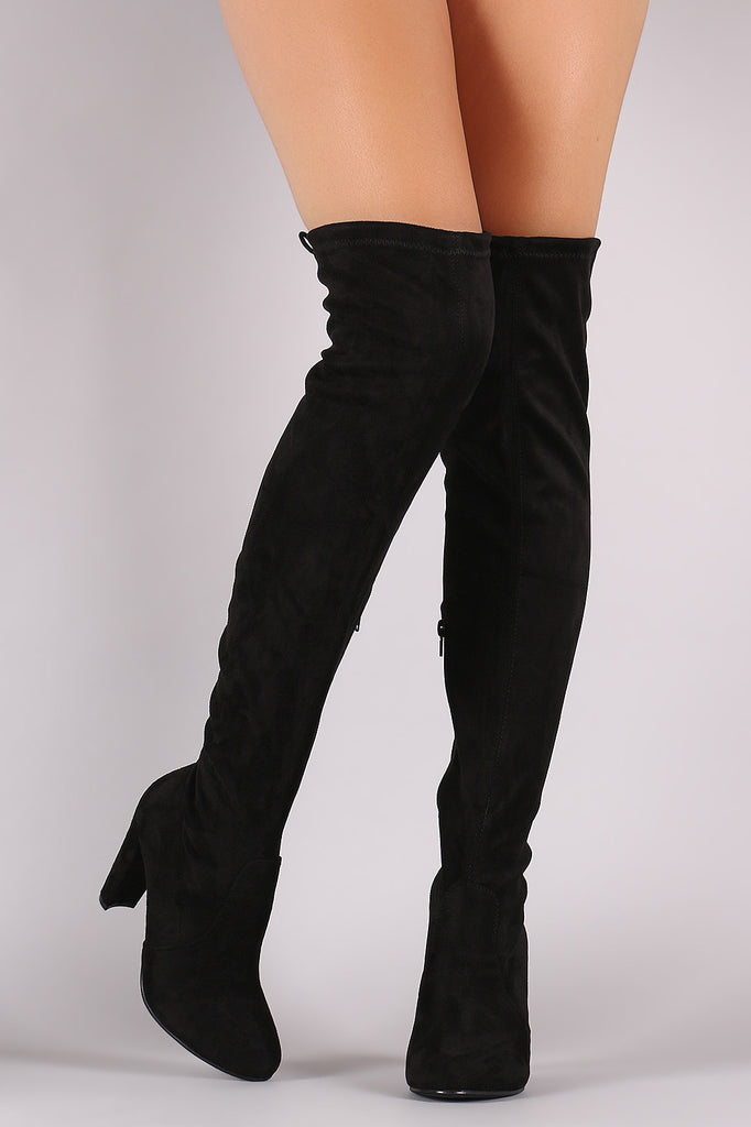 Suede Drawstring Tie Thick Heeled Over-The-Knee Boots - Rich Girl's Closet - 12