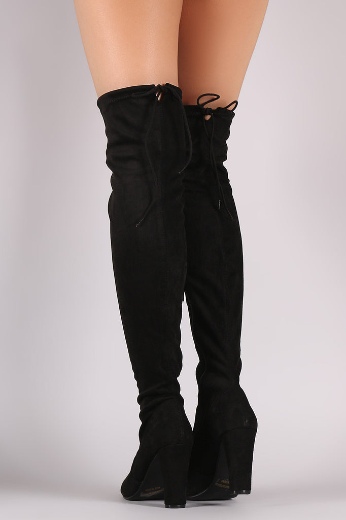 Suede Drawstring Tie Thick Heeled Over-The-Knee Boots - Rich Girl's Closet - 9