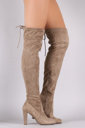 Suede Drawstring Tie Thick Heeled Over-The-Knee Boots - Rich Girl's Closet - 10