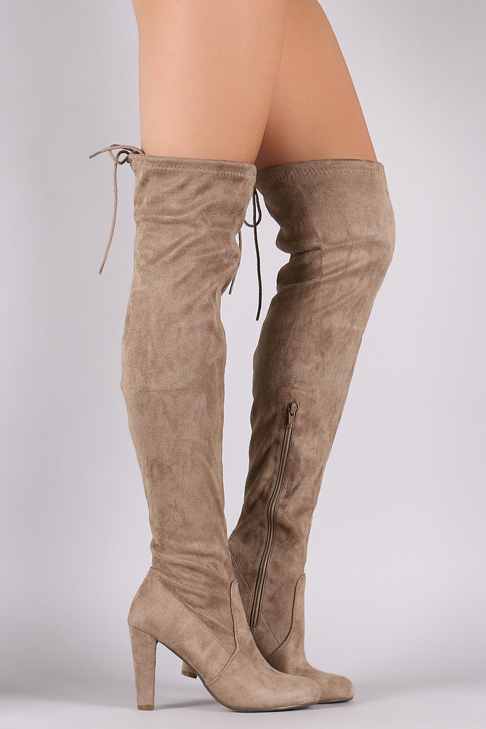 Suede Drawstring Tie Thick Heeled Over-The-Knee Boots - Rich Girl's Closet - 1