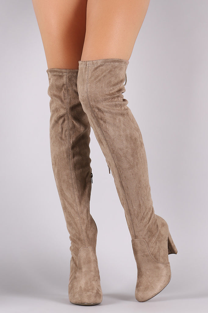 Suede Drawstring Tie Thick Heeled Over-The-Knee Boots - Rich Girl's Closet - 15