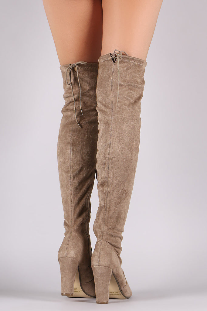 Suede Drawstring Tie Thick Heeled Over-The-Knee Boots - Rich Girl's Closet - 3