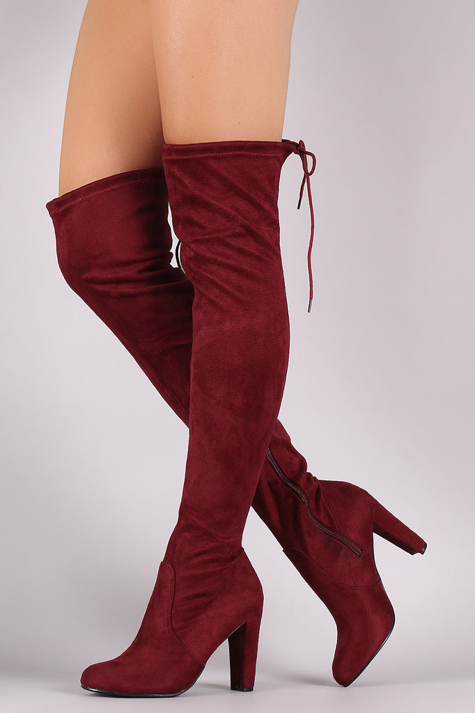 Suede Drawstring Tie Thick Heeled Over-The-Knee Boots - Rich Girl's Closet - 2