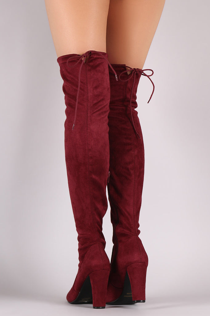 Suede Drawstring Tie Thick Heeled Over-The-Knee Boots - Rich Girl's Closet - 4