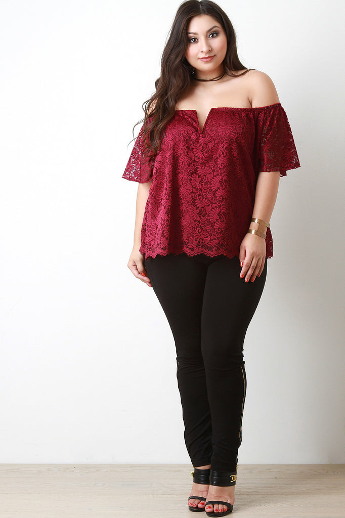Floral Lace Bardot Top - Rich Girl's Closet - 10