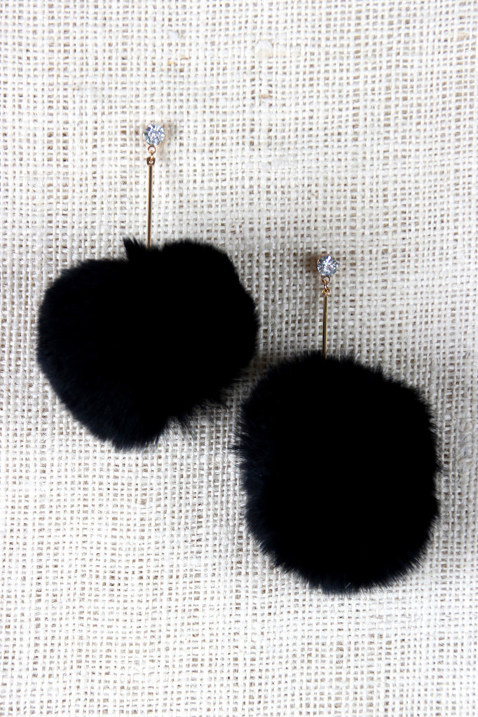 Rhinestone Pom-Pom Dangle Stud Earrings - Rich Girl's Closet - 4