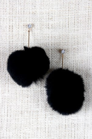 Rhinestone Pom-Pom Dangle Stud Earrings - Rich Girl's Closet - 2