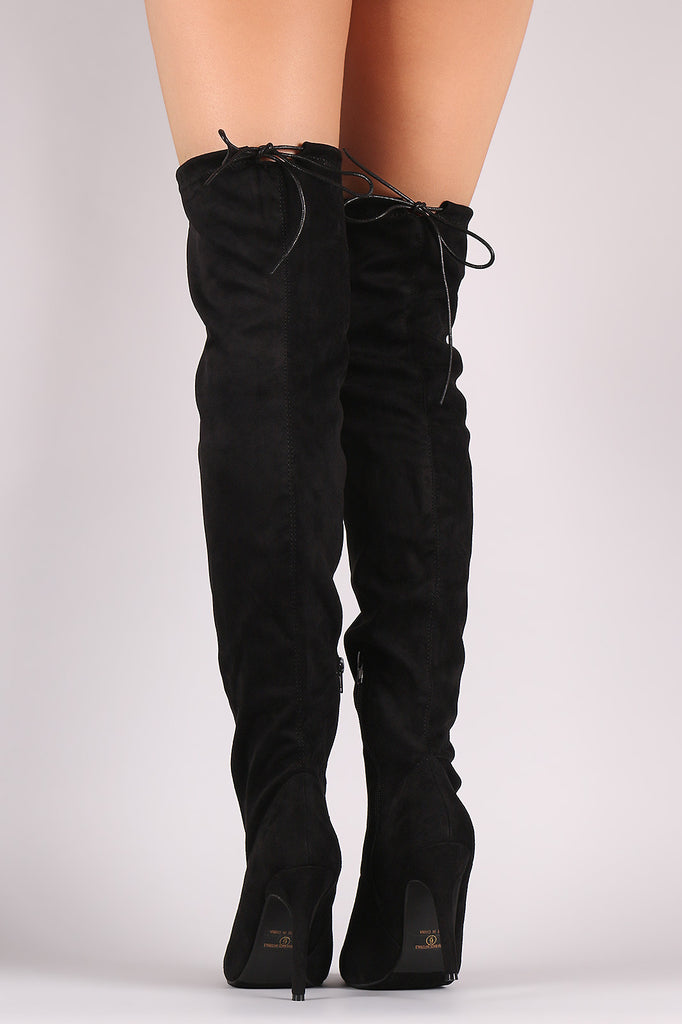 Suede Drawstring Tie Stiletto Pointy Toe Boots - Rich Girl's Closet - 16