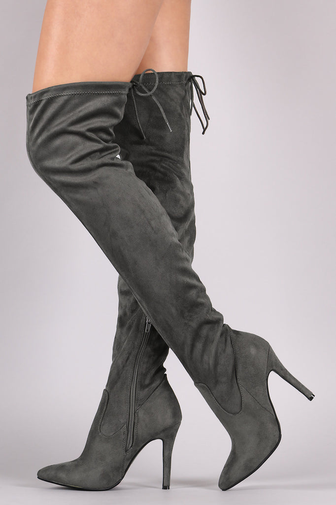 Suede Drawstring Tie Stiletto Pointy Toe Boots - Rich Girl's Closet - 11