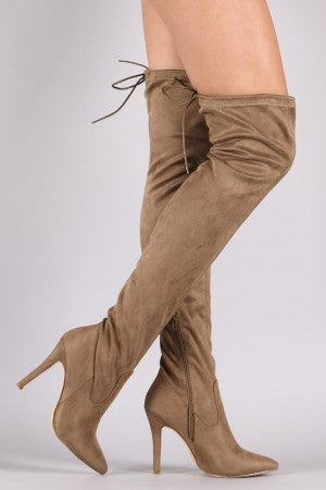 Suede Drawstring Tie Stiletto Pointy Toe Boots - Rich Girl's Closet - 1