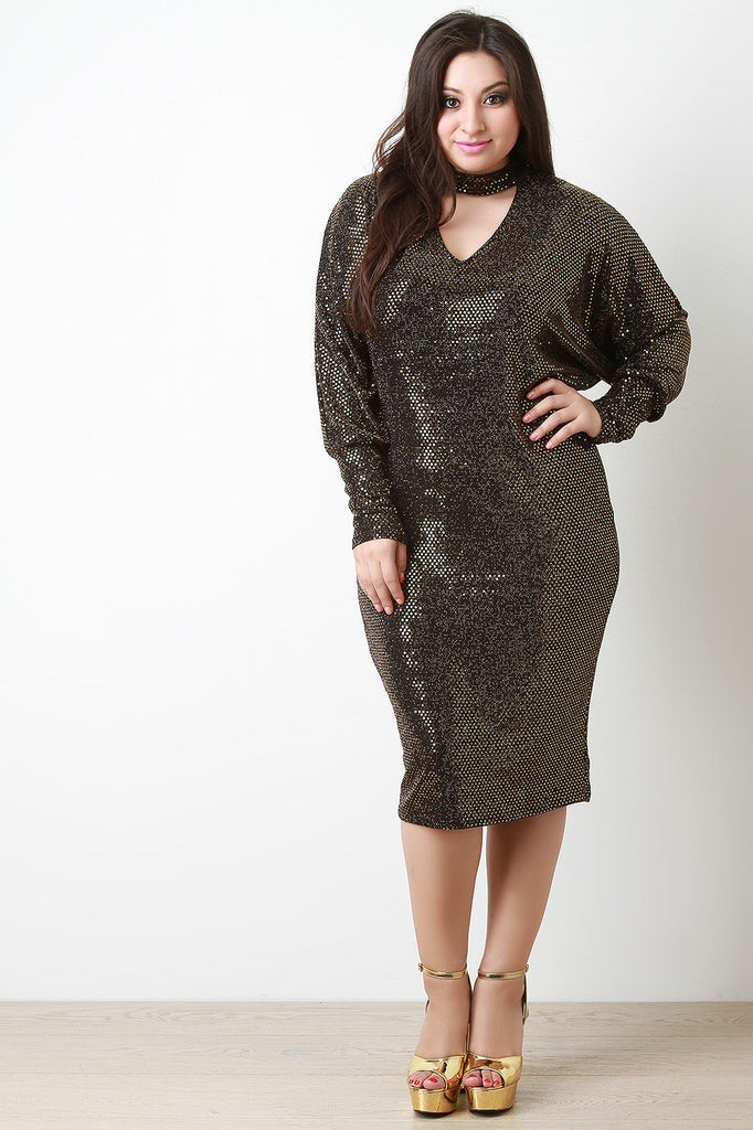 Sequin Shimmer Keyhole Cocktail Midi Dress - Rich Girl's Closet - 8