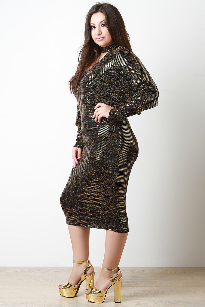 Sequin Shimmer Keyhole Cocktail Midi Dress - Rich Girl's Closet - 12