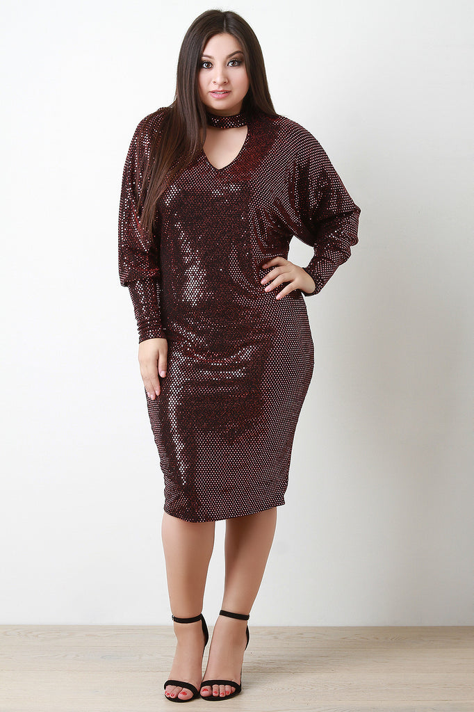 Sequin Shimmer Keyhole Cocktail Midi Dress - Rich Girl's Closet - 5