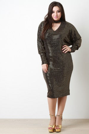 Sequin Shimmer Keyhole Cocktail Midi Dress - Rich Girl's Closet - 14
